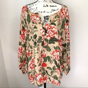 LOFT FLORAL GARDEN LONG SLEEVE BLOUSE